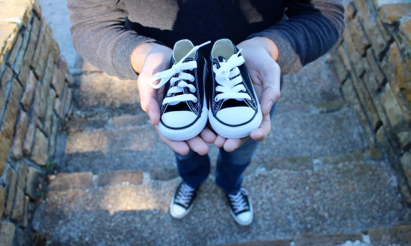 Dad and baby shoes.
